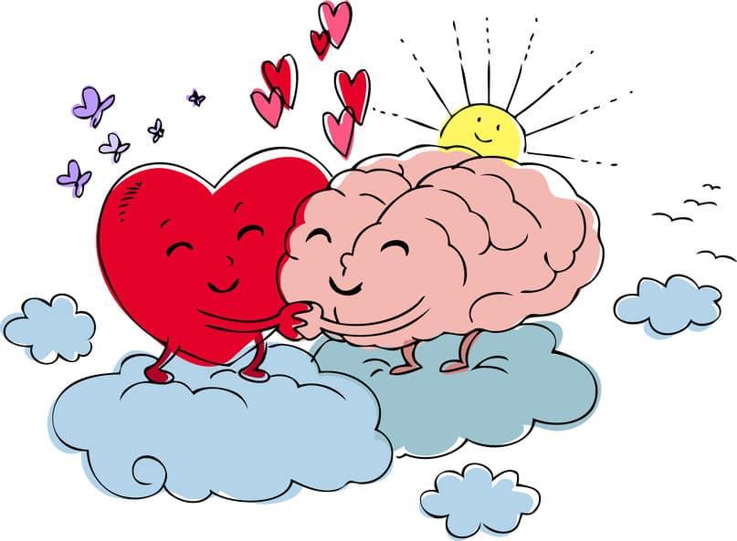 Le coeur et le cerveau se câlinent pour représenter la cohérence cardiaque
